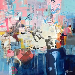 Off The Hook by Tom Butler - Original Collage on Board sized 24x24 inches. Available from Whitewall Galleries